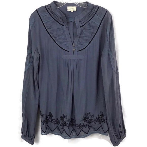 Miss Me Tops - Sweet by Miss Me Blouse Blue